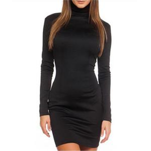 Ladies High Cowl Dress Moda Trend Trend Manica Lunga posteriore in metallo Zipper Hip Breve Gonna Designer Primavera femminile Nuovo Abito a mezza dimagrante dimagrante