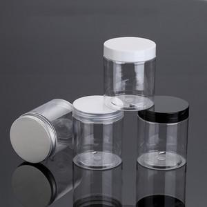 30 adet 250g Şeffaf Boş Kozmetik Krem Şişeleri, 250 ml Temizle Pet Kavanoz Siyah / Beyaz Alüminyum Vidalı Kap, Cilt Bakımı Tencere Teneke