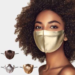 Mascarilla de la cara de Bling Golden de lujo para las mujeres Moda Cálida máscara protectora Personalizada Mascarilla de diseño tridimensional
