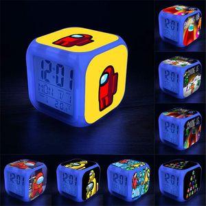 Aramızda Oyuncaklar Çocuklar Ile LED Dijital Çalar Saatler 7 Renk Değişen Gece Işık Sıcaklık Ekran Çocuk Öğrenci Yaratıcı Hediye Toptan