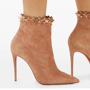 Sıcak Salewinter Kısa Ayakkabı Lady Kırmızı Alt Boot Süet Boot Firmama Çivili-Manşet Süet Çizmeler Lüks Tasarımcı Fabrika Toptan Yüksek Kalite