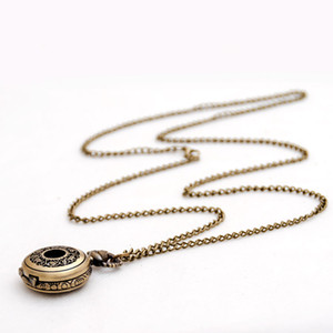 50PCS 27MM Retro necklace Korean version sweater chain blue bronze small leaves around rattan pocket watch necklace hanging watch