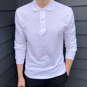 High Quality Crocodile Top Men Long Sleeve Shirts 100% Cotton Casual Solid Mens T Homme Fashion Male