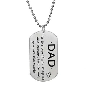 Stainless Steel Necklace Dad To The World You May Be One Person But To Me You Are The World Dog Tag Pendant Father's Day Gifts