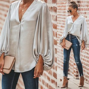 3 Color 2021 New Women Casual Blouses Office Lady Shirts Sexy V-Neck Low Cut Lantern Sleeve Loose Elegant Smooth Silk And Tops S-XL