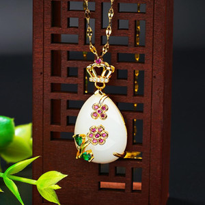 2020 Fashion 24K Jewelry natural stone Pendant Necklaces for Women Chain Link choker Sweater Chain Necklace Christmas Gifts