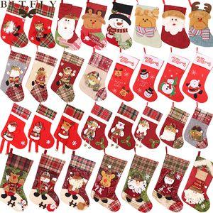 New Year Christmas Stocking Sack Xmas Gift Candy Bag Christmas Decorations for Home Natal Navidad Sock Christmas Tree Ornaments
