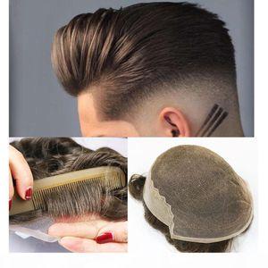 Pizzo francese con pelle Poly Uomo Toupee Pizzo anteriore uomo parrucca Sistema di ricambio Capelli per capelli umani Capelli Topepee traspirante per gli uomini