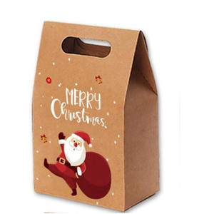 Рождественские подарочные пакеты Xmas Vintage Kraft Paper Apples Candy Case Party Party Party Bag Deck Tapped Package Party Forite Supply HWA2858