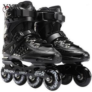 Inline Speed Skates Schuhe Hockey Roller Skates Turnschuhe Walzenklingen Frauen Männer Für Erwachsene schwarz weiß1