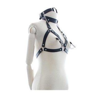 Fashion New goth female stocking suspender Sexy Vintage Garter belt body binding Neck harness constraint underwear retail 201120