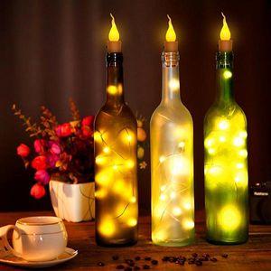 wholesale Newest Design Twinkle Star 10x Warm Wine Bottle Candle Shape String Light 20 LED Night Fairy Lights Lamp