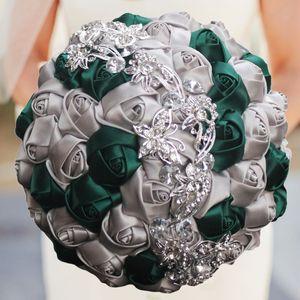 European Artificial Wedding Bouquets Ribbon Roses Flowers Rhinestone Butterfly Crystal Bridal Wedding Bouquet Bridesmaid Wedding Accesories