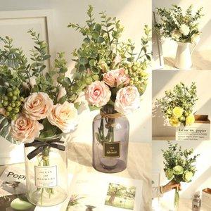 Salon Table basse décorée avec vent Eucalyptus Rose Bouquet Gamme Hydrangea Flowers Fleurs Bunch Fête Gift H0416