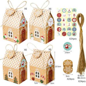 1 Set / 24pcs Sacs-cadeaux d'emballage de Noël avec autocollants de 24pcs, tags, cordes Boîtes de bonbons Boîtes d'anniversaire Sacs à papa