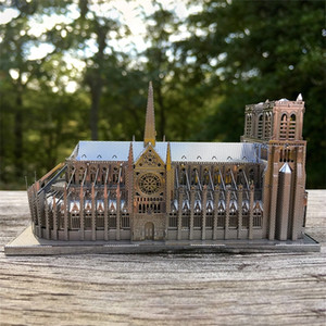 Notre Dame Cathedral DIY3D Metal Puzzle Moscow Building Model Kit Laser Cutting Puzzle Adult Children Educational Collection Toy 201218