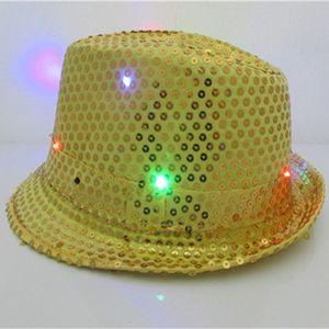 Fedora Jazz Flashing Light Up LED Trilby Sequins Caps Fancy Vestido Dance Party Hats Unisex Hip Hop Lámpara Luminosa Hat SH19