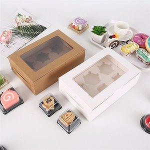 Fenêtre transparente Muffin Cupcake Boîte Cadeaux Cadeaux Dessins Desserts Restauration Containers Conteneurs Packaging Organisateur Kraft Papier Nouveau 0 75bg F2