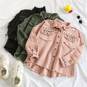 Spring Rivet Denim Jacket Casual Loose jeans jacket women Long Sleeve Plus size women Bomber jacket Autumn women's denim Coat LJ200813