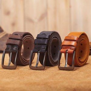 Vamos Katoal Hommes Cuir Ceintures, Courroies en cuir véritable de qualité rétro pour hommes, ceinture à boucle en métal mâle 201123