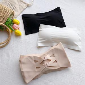 Women Sexy Bra Bandeau Tops Breathable Chest Pad Wearing Sports Bustier Underwear Strapless Bra Tube Tank Top 2020 New Bralette