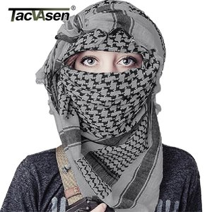TACVASEN Men Military Scarf Tactical Desert Arab Keffiyeh Scarf Camouflage Head Scarf Women Arabic Cotton Paintball Face Mask 201119