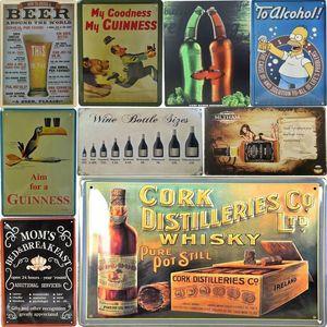 2021 Mann Höhle Guinness Bier Vintage Metall Zinn Zeichen Wandkunst Teller Getränk Bier Metall Poster Bars Küche Pub Cafe Wanddekor Für Bar Home