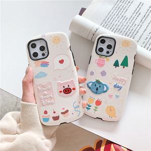Embroidery Flower Koala Pig Cute Gentle Lambskin PU Material Mobile Phone Case Cover for iphone 12 mini 11 Pro Max 7 8 Plus X XR XS Max