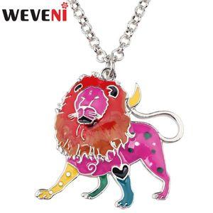 Cadena WEVENI la aleación del esmalte Collar Gargantilla León LEO joyería de suerte colgante del zodiaco Constelación de la Selva salvaje de animales para muchachas de las mujeres