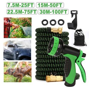 25FT-100FT Expandable Garden Hose Flexible Garden Water Hose Durable Brass Car Washing Pipe Plastic With Spray Guns Set