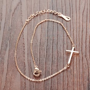 queen66 2020 Cross Woman Anklets Classical Rose Gold Color Stainless Steel Women Ankle Jewelry Bracelet