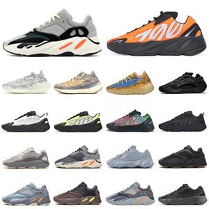 Yeezy Boost 700 zapatos de Kanye West reflectante de color de la onda Hombres Mujeres Running Shoes Sneakers sólidos zapatos de diseño gris analógico Tael de carbono azul