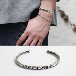 Vintage retro indian jewelry style silver 925 jewelry cuff bracelets for women and girls indian bangles pulseiras feminina 2017Y1882701