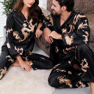 Hombres Mujeres Pijamas Set Soft Imitate Silk Dragon Print Camisa Pantalones Pareja Pijama Sets Unisex Pijamas Sleepwear