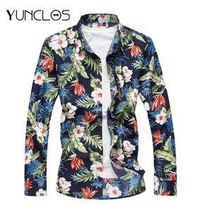 Men's Euro Size Casual Colorful Shirts Plus Size Cotton Floral Long Sleeve Shirt Suit For Wedding &Party Chemise Homme M- 7XL
