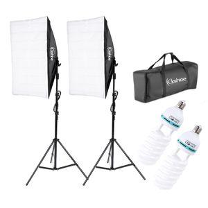 사진 스튜디오 세트 2 사진 연속 소프트 조명 상자 스탠드 사진 장비 스튜디오 조명 키트 접는 반사경 세트 무료 배송