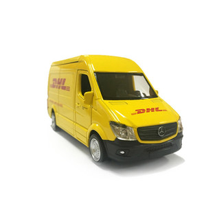 Truck DHL 1:36 Simulation Toy Vehicles Alloy Pull Back Mini Car Replica Authorized By The Original Factory Model Toy Collection Z1124