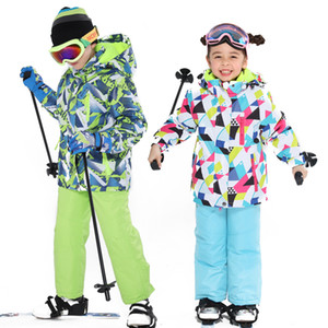 Latest Children's Ski Suit Winter Waterproof Super Warm Colorful Girl and Boy Snow Ski Jacket and Pants Snow Boy Jackets Brands 201203