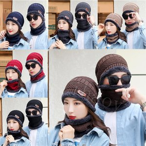 Winter Thermal Plush Hat Scarf Cap Women Thick Warm Beanies Cycling Windproof Cap Two-piece Suit Unisex Winter Cap DB296