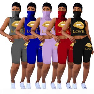 summer Women Lip 2pcs Sets Tank Tops+Shorts Sweat Suit With Mask Plus Size Outfits S-3XL Outfits Stretchy Sportswear Clothing