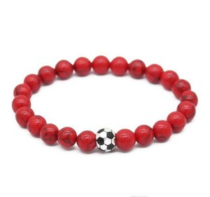 Soccer football Beads Stone Bracelet Sport Bracelet Men Charm Jewelry Nature sqcoY footballshoe