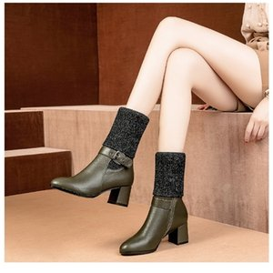vogue l women High-heeled tall knitting boot 201215