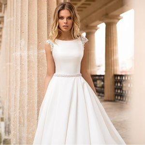 LORIE Satin Cap Sleeves Lace Appliques Beach Bride Dress Sexy Boho Long Train Wedding Gown Hot Sale 2019 Q1110