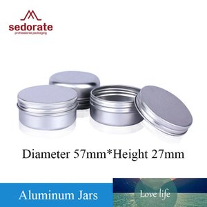 Sedorate 50 Pcs Lot Empty Silver Aluminum Jars for Cosmetic Cream 50ML Soap Hair Wax Lip Balm Case 15g Containers MC2006-2