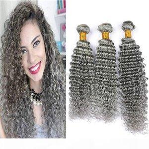Grau Brasilianische Haarbündel Deep Wave Curly Human Hair Weave 3 Bundles Angebote 8A Günstige Farbe Grau Jungfrau Haarverlängerungen