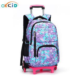Sac d'école pour enfants détachable sur roues Bag de chariot enfant Rolling School Sac à dos pour filles Pratiquaire Scolaire Bag enfants Sacs à dos Y0119