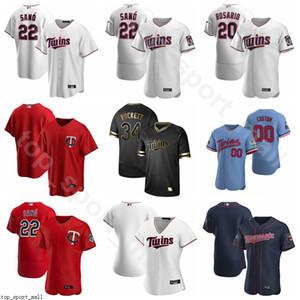 Beyzbol 8 Mitch Garver Jersey 18 Kenta Maeda 25 Byron Buxton 15 Homer Bailey 54 Sergio Romo Flexbase Serin Baz Pinstripe