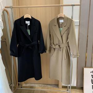 The new women's autumn winter 2020 double-sided wool woolen cloth coat in long loose knee-length wool coat female