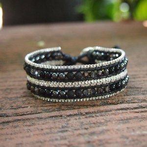 Round Lava Stone Beads Wrap Bracelet for Women Stainless Steel Chains Multi Rows Crystals Hematite Onyx Beaded Bracelets Boho