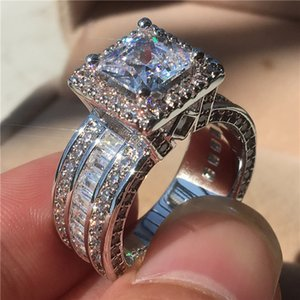 Vintage princesa corte 3ct laboratório diamante anel 925 esterlina de prata jóias casamento anéis de banda de casamento para mulheres homens festa bijou z1121